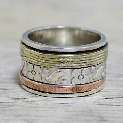 titanium rings with wood inlay - Sterling Silver Copper and Brass Indian Floral Spinner Ring