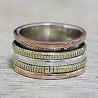 Sterling silver spinner ring, 'Alluring Rotation' - Sterling Silver Copper and Brass Spinner Ring from India