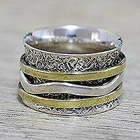 Sterling silver spinner ring, 'Forest Sheen' - Indian Spinner Ring Crafted of Sterling Silver and Brass