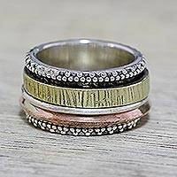 Sterling silver spinner ring, 'Textured Beauty' - Sterling Silver Copper and Brass Textured Spinner Ring
