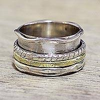 Sterling silver spinner ring, 'Spinning Grace' - Handcrafted Sterling Silver and Brass Indian Spinner Ring