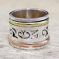 Sterling silver spinner ring, 'Spinning Clouds' - Sterling Silver Copper and Brass Indian Spiral Spinner Ring