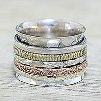 Sterling silver meditation spinner ring, 'Five Delights' - Sterling Silver Copper and Brass Textured Spinner Ring