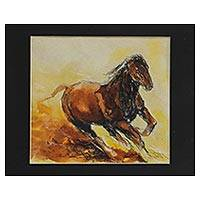 'Majestic Horse' - Signed Modern Painting of a Horse by an Indian Artist