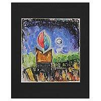 'Night in the City' - Signed Colorful Modern Painting by an Indian Artist