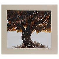 'Woods I' - Signed Freestyle Painting of a Tree by an Indian Artist