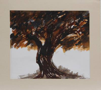 Signed Freestyle Painting of a Tree by an Indian Artist