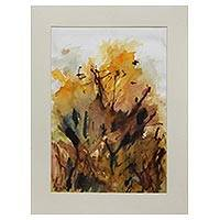 'Woods II' - Signed Ink and Watercolor Abstract Painting from India