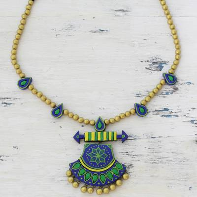 Ceramic pendant necklace, 'Royal Rainfall' - Multicolored Ceramic Pendant Necklace by Indian Artisans