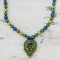 Ceramic pendant necklace, 'Ornate Ganesha' - Multicolored Ceramic Ganesha Pendant Necklace from India