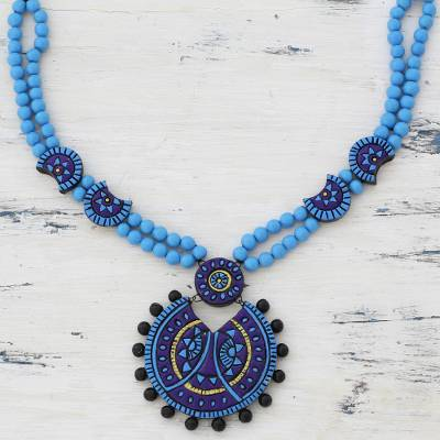 Ceramic pendant necklace, 'Grandiose Sky' - Blue Ceramic Pendant Necklace Designed by an Indian Artisan