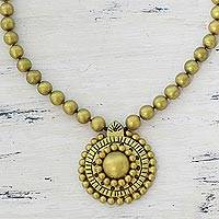 Ceramic pendant necklace, 'Golden Royalty' - Gold Tone Ceramic Pendant Necklace by Indian Artisans
