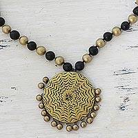Image of Ceramic pendant necklace, 'Blinking Orbs' (India)