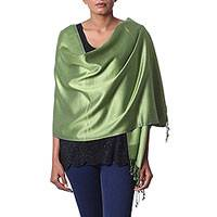 Silk shawl, 'Avocado Shimmer' - Hand Woven Fringed Silk Shawl in Avocado from India