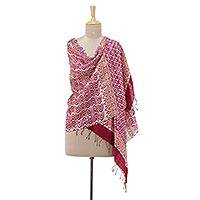 Silk shawl, 'Magenta Waves' - Hand Woven SIlk Shawl in Magenta and Russet from India