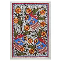 Madhubani painting, 'Jovial Parrots' - Traditional Indian Madhubani Painting of Parrots and Birds