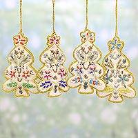 Embroidered ornaments, 'Happy Christmas' (set of 4) - Set of Four White Christmas Tree Ornaments from India
