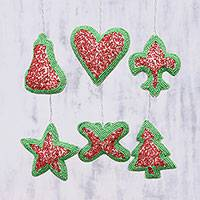 Beaded ornaments, 'Christmas Party' (set of 6) - Set of Six Indian Christmas Ornaments in Red and Green