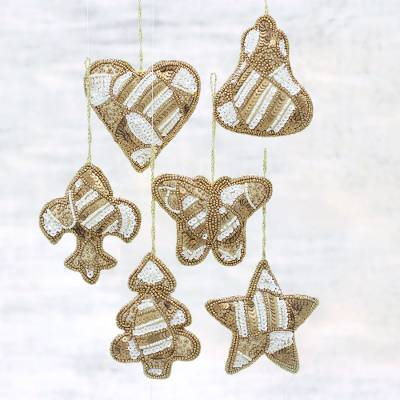 Beaded ornaments, 'Christmas Party in Gold' (set of 6) - Set of Six Beaded Christmas Ornaments in Gold and White