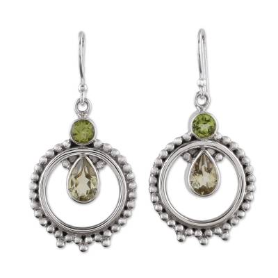 Hand Crafted Peridot and Quartz Dangle Earrings from India