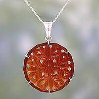 Carnelian pendant necklace, 'Floral Dots' - Handcrafted Floral Carnelian Pendant Necklace from India