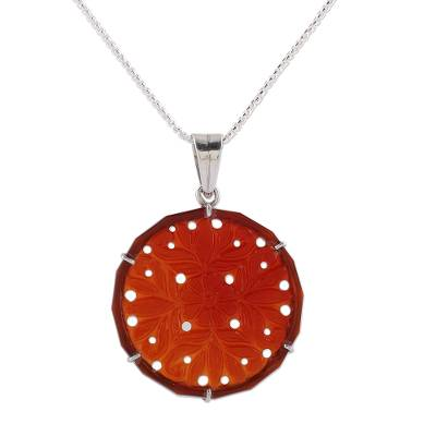 Handcrafted Floral Carnelian Pendant Necklace from India
