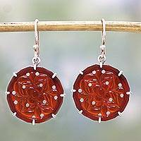 Carnelian dangle earrings, 'Floral Dots' - Handcrafted Floral Carnelian Dangle Earrings from India