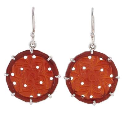 Handcrafted Floral Carnelian Dangle Earrings from India