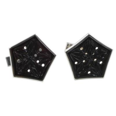 Onyx and Sterling Silver Floral Cufflinks from India