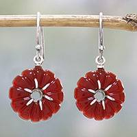 Carnelian dangle earrings, 'Bursting Blossoms' - Carnelian and Sterling Silver Indian Floral Dangle Earrings