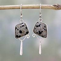 Jasper dangle earrings, 'Dalmatian Beauty' - India Dalmatian Jasper and Sterling Silver Dangle Earrings