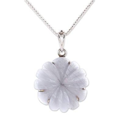 Agate and Sterling Silver Floral Pendant Necklace from India