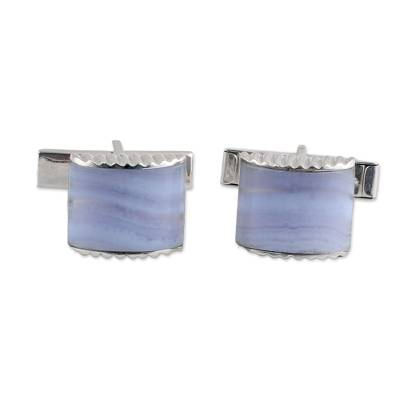 Blue Lace Agate Silver 925 Cufflinks by Indian Artisans