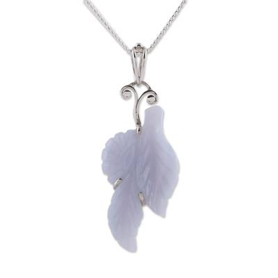 Hand Crafted Blue Lace Agate Leaf Pendant Necklace