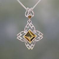 Citrine pendant necklace, 'Jali Charm' - Citrine and Sterling Silver Pendant Necklace from India