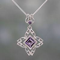 Amethyst pendant necklace, 'Jali Charm' - Amethyst and Sterling Silver Pendant Necklace from India