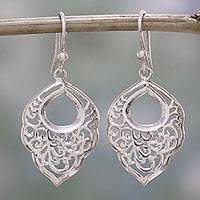 Sterling silver dangle earrings, 'Spiral Spring' - Sterling Silver Spiral Motif Dangle Earrings from India