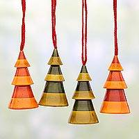 Wood ornaments, 'Colorful Christmas Trees' (set of 4) - Set of Four Wood Christmas Tree Ornaments from India