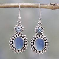 Blue topaz and chalcedony dangle earrings, 'Ocean Dots' - Blue Topaz and Chalcedony Dangle Earrings from India