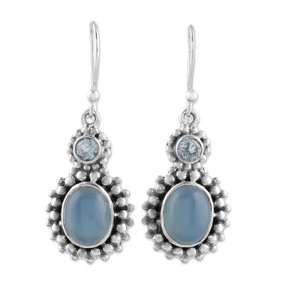 Blue Topaz and Chalcedony Dangle Earrings from India