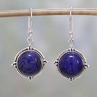 Lapis lazuli dangle earrings, 'Alluring Speckles' - Lapis Lazuli and Sterling Silver Dangle Earrings from India