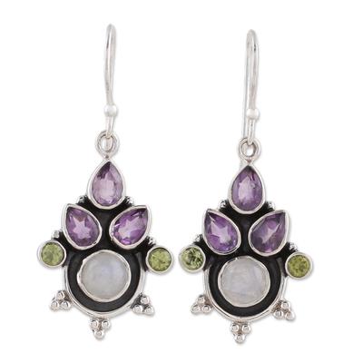 Multi-Gem Amethyst Rainbow Moonstone and Peridot Earrings
