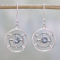 Blue topaz dangle earrings, 'Blue Wheels' - Blue Topaz and Sterling Silver Dangle Earrings from India