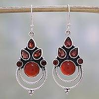 Garnet and carnelian dangle earrings, 'Radiant Harmony' - Garnet and Carnelian Dangle Earrings by Indian Artisans