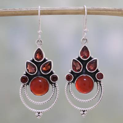 Garnet and carnelian dangle earrings, Radiant Harmony