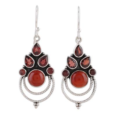 Garnet and Carnelian Dangle Earrings by Indian Artisans