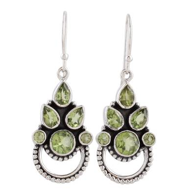 Sterling Silver and Peridot Bollywood Glam Earrings