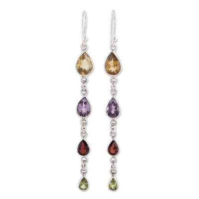 Multi-Gem Citrine Amethyst Garnet and Peridot Earrings