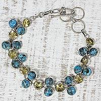 Citrine link bracelet, 'Golden Skies' - Citrine and Composite Turquoise Link Bracelet from India