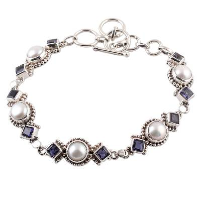 Iolite and Cultured Pearl Link Bracelet from India